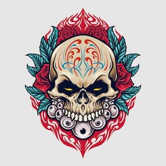 Messico zucchero cranio dia de los muertos illustrazioni