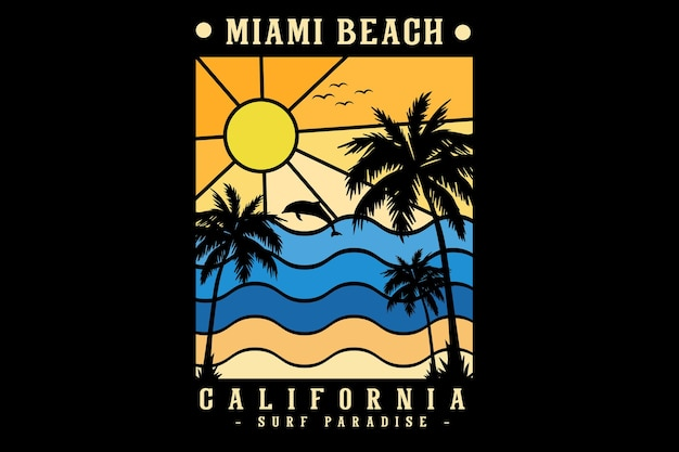 Miami beach california silhouette design stile retrò