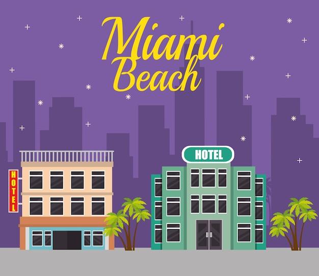 Progettazione dell'illustrazione di vettore di scena di paesaggio urbano della spiaggia di miami