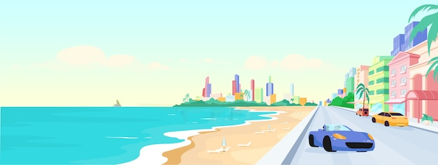 Miami beach all'illustrazione di colore piatto diurno