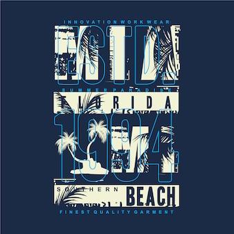 Miami beach con illustrazione grafica di progettazione di tipografia della palma per la maglietta stampata