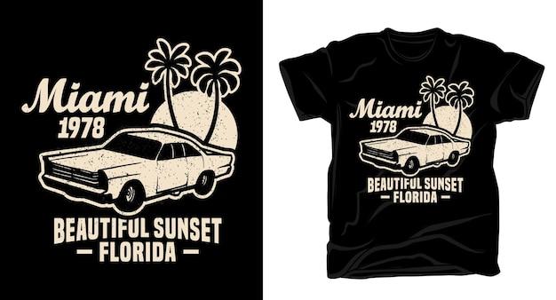 Tipografia bellissimo tramonto di miami con design di t-shirt per auto d'epoca