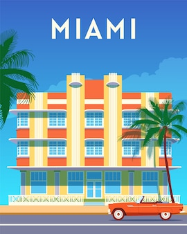 Poster retrò di miami city travel, giornata di sole in art deco district. banner vintage di estate in florida. illustrazione piatta disegnata a mano