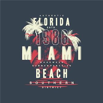 Illustrazione di progettazione di tipografia grafica della spiaggia di miami florida per la maglietta stampata