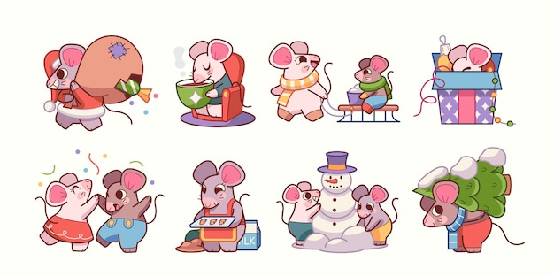 Adesivi per topi con attributi natalizi possono essere utilizzati come elementi di design per biglietti di auguri