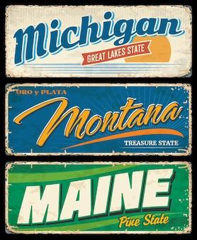 Banner di stati americani del michigan, montana e maine