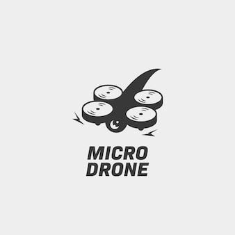 Sagoma semplice del logo del micro drone, illustrazione vettoriale del logo del drone da corsa mini micro fpv