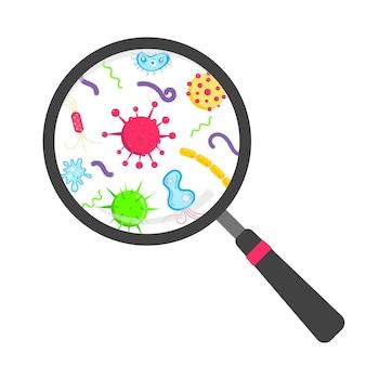 Microbi e batteri nell'illustrazione di vettore di progettazione di stile piano della lente d'ingrandimento del cerchio