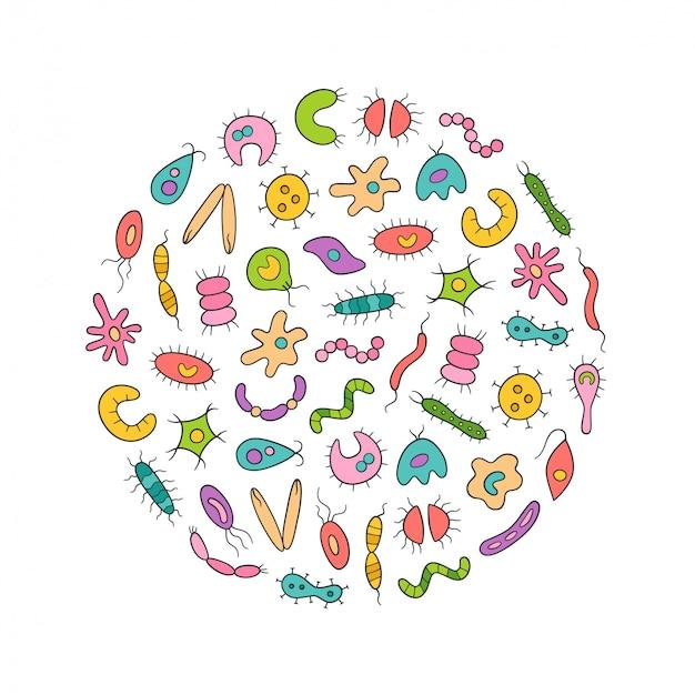 Insieme variopinto di icone di microbi, virus, batteri e agenti patogeni. illustrazione astratta di germi in stile lineare su sfondo bianco