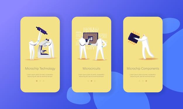 Modello di schermo a bordo della pagina dell'app mobile di produzione di tecnologia microchip