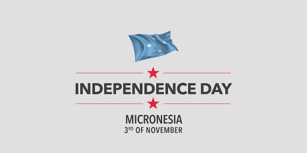 Biglietto di auguri per il giorno dell'indipendenza della micronesia, banner, illustrazione vettoriale. elemento di design per le vacanze in micronesia del 3 novembre con bandiera sventolante come simbolo di indipendenza
