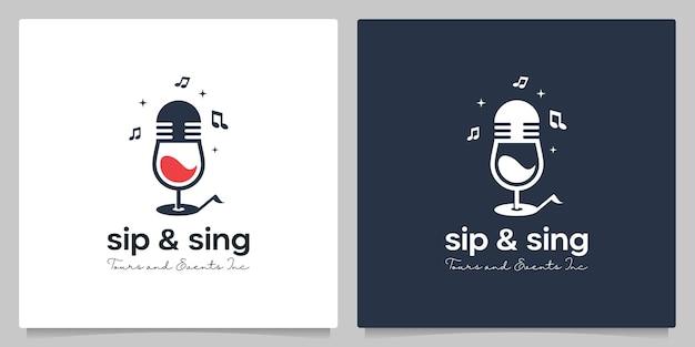 Microfono bicchiere da birra con nota musicale logo design idea intelligente