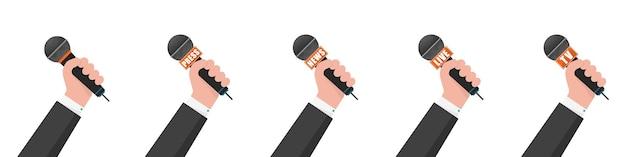 Microfono in mano illustrazione