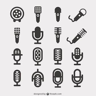 Icone pacchetto microfono Vettore Premium