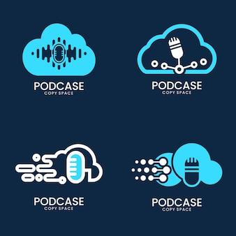 Tratto di contorno dell'icona del logo del microfono con cloud
