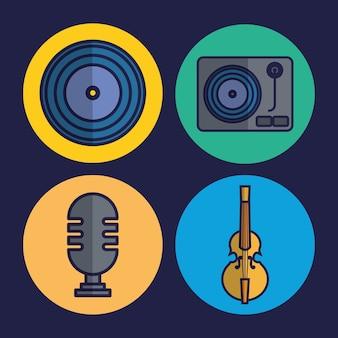 Icone relative al microfono e alla musica