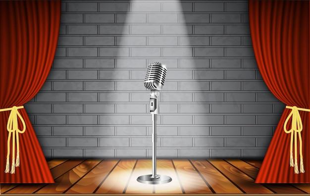 Microfono e tenda rossa