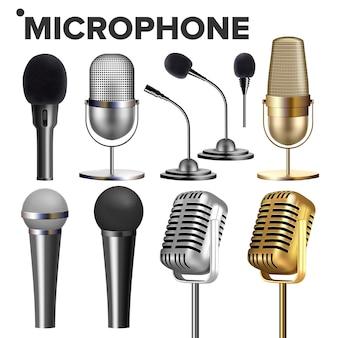 Microfono impostato su bianco Vettore Premium