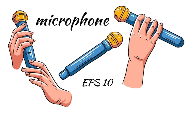 Insieme di vettore del microfono. microfono in mani isolate