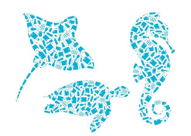 Illustrazione di vettore di concetto di inquinamento del pianeta di rifiuti di microplastica insieme di schemi di animali marini riempito