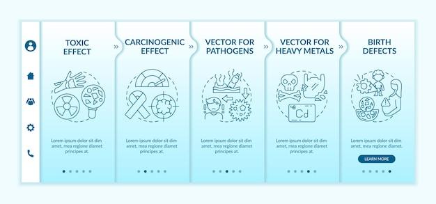 Modello onboarding degli effetti sulla salute delle microplastiche. sito web mobile reattivo con icone