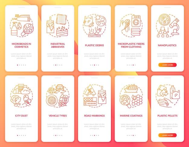 Fonti di microplastiche che integrano la schermata della pagina dell'app mobile con concetti