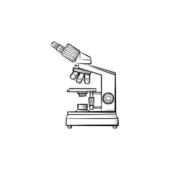 Icona di doodle di contorno disegnato a mano del microscopio