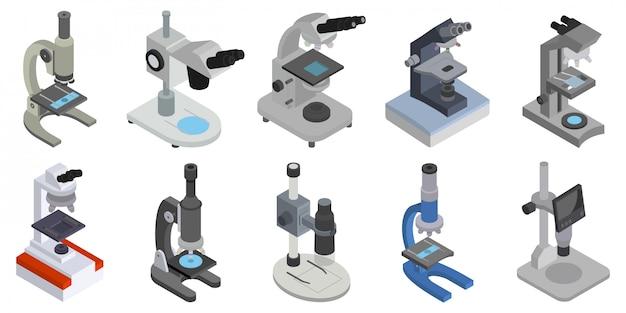 Icona set isometrica microscopio. illustrazione apparecchiature di laboratorio su sfondo bianco. microscopio icona set isometrico.