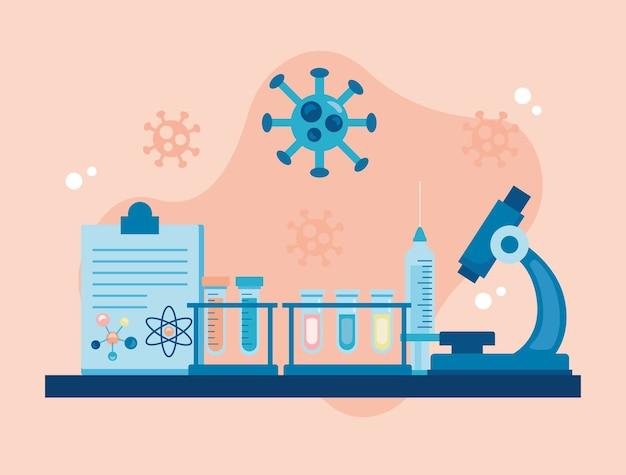 Strumento di laboratorio al microscopio con lista di controllo e ricerca sul vaccino per particelle covid19