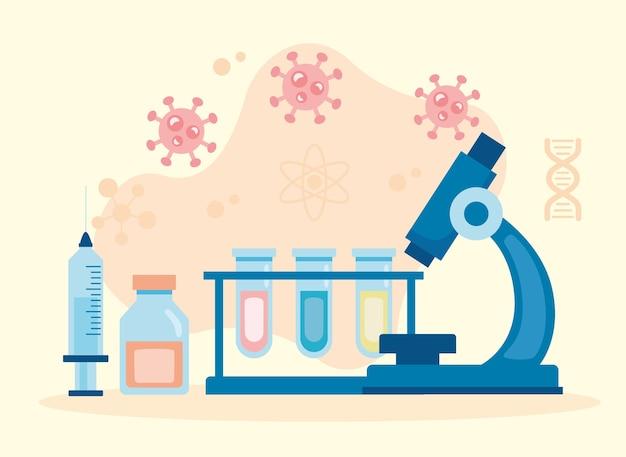 Strumento di laboratorio del microscopio con provette per testare la ricerca sui vaccini
