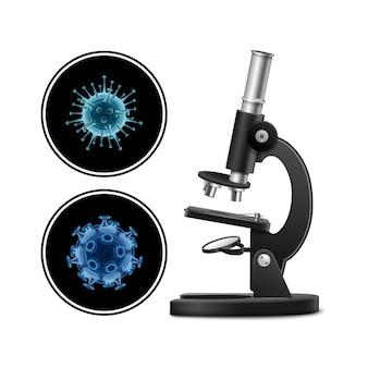 Microscopio con l'illustrazione dei batteri isolata su fondo bianco. concetto di virus. alto vicino del virus del microscopio. ricerca clinica.