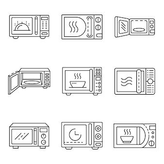 Set di icone di microonde. insieme del profilo delle icone di vettore di microonde