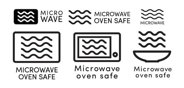 Forno a microonde sicuro icona set vettore stile linea con segno informazioni piatto per l'idoneità alla cottura di