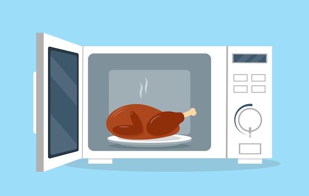 Forno a microonde con porta aperta e pollo alla piastra. illustrazione di attrezzature da cucina in stile piano.