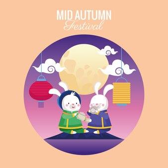 Carta di metà autunno con coppia di conigli e scena di luna piena