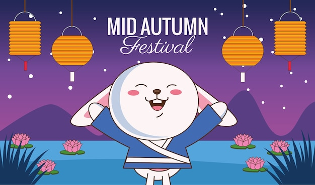Biglietto di festa di metà autunno con coniglietto e lanterne appese nel campo