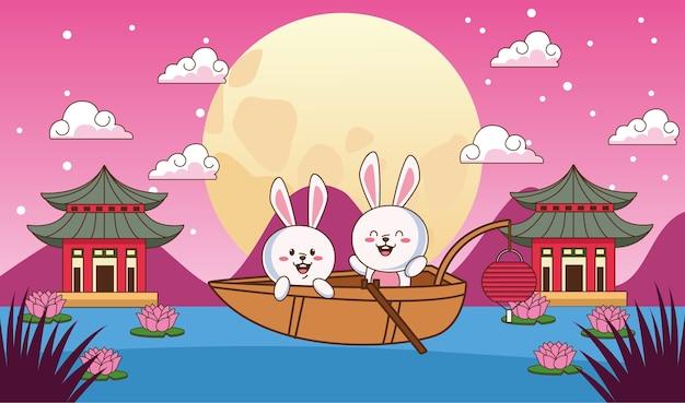 Carta di celebrazione di metà autunno con piccole coppie di conigli in barca che galleggia nel lago