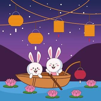 Scheda di celebrazione di metà autunno con piccole coppie di conigli nella progettazione dell'illustrazione di vettore di scena della barca