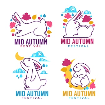 Festa di metà autunno, etichette, emblemi e logo con immagini di conigli lunari