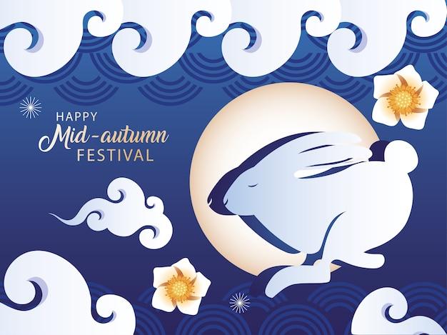 Festa di metà autunno o festa della luna con coniglio e luna, modello