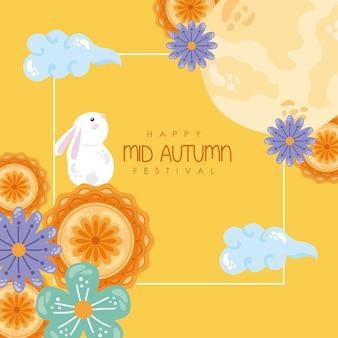 Festa di metà autunno coniglio e luna