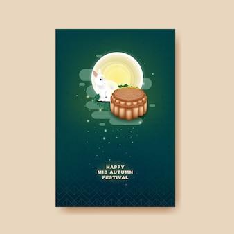 Festa di metà autunno con coniglio e torta di luna luna su sfondo colorato