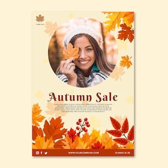 Modello di poster di metà autunno Vettore Premium