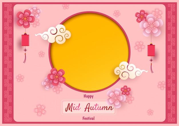Metà autunno con cornice cerchio rosa