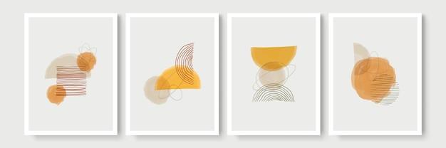 Design moderno di metà secolo. una serie trendy di illustrazioni astratte dipinte a mano
