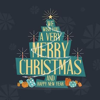 Mid century modern merry christmas greeting card