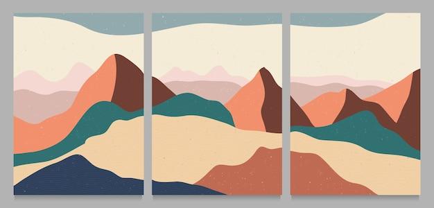 Stampa d'arte minimalista moderna di metà secolo. set di paesaggi di sfondi estetici contemporanei astratti