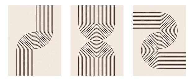 Stampa artistica minimalista moderna di metà secolo con forma geometrica organica.