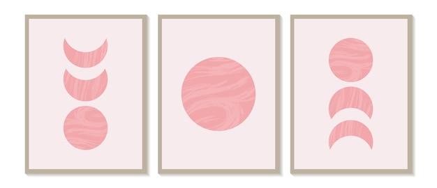Stampa minimalista moderna di metà secolo con fasi lunari geometriche contemporanee