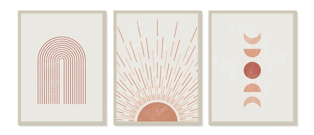 Stampa minimalista moderna di metà secolo con motivi geometrici contemporanei